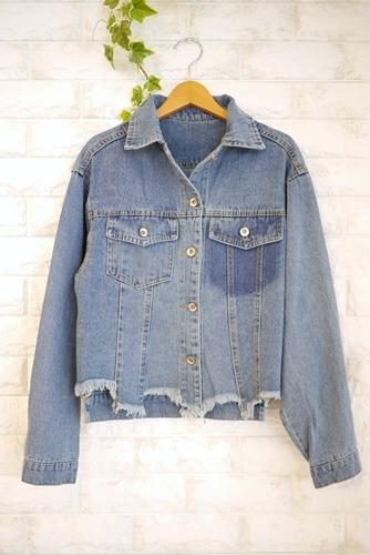 裾がフリンジ加工されたヴィンテージ風デニムジャケット