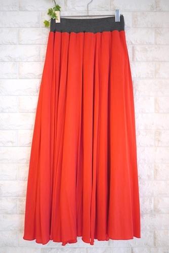 MICELLE(ミセル)サテンマキシスカート、レッド