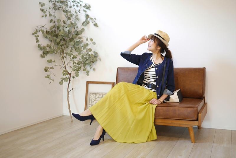 MICELLE(ミセル)サテンマキシスカート、イエローの30代40代向けコーディネート