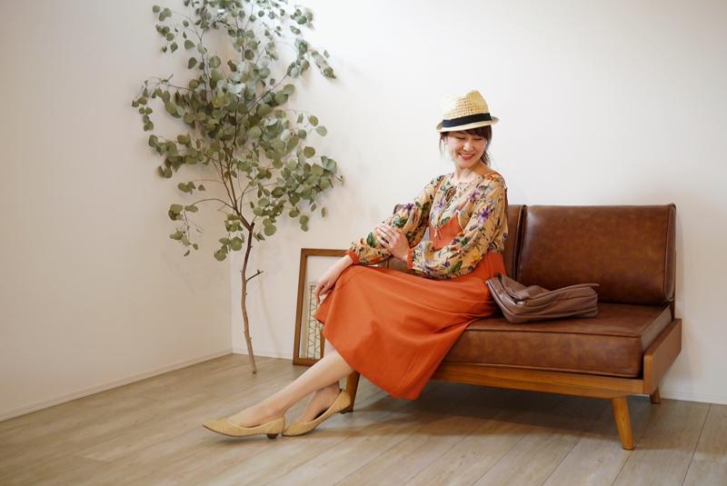 Relaxing.R(リラクシングアール)キャミワンピース/ジャンパースカート・レンガオレンジのコーディネート