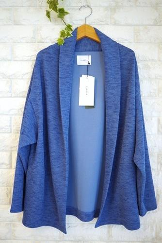 Cloche(クロッシェ)襟付きジャケット風ニットカーディガン、ブルー