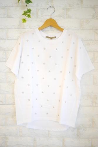 Anna Kerry(アンナケリー)星刺繍丸首Tシャツ・ホワイトxグレー