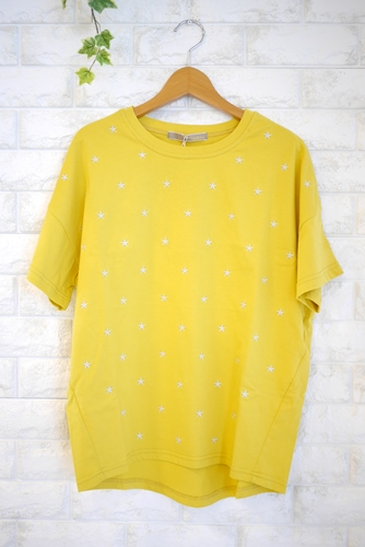 Anna Kerry(アンナケリー)星刺繍丸首Tシャツ・イエローxグレー