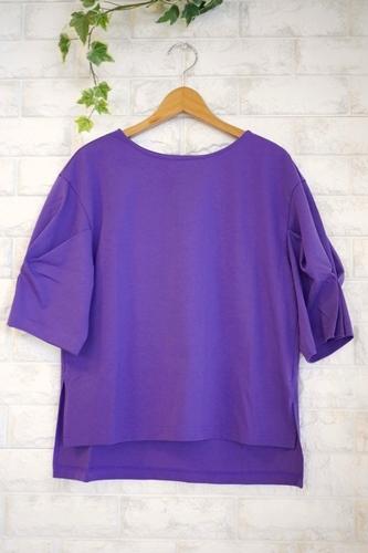 Cloche(クロッシェ)日本製トルファンゴールド綿100%ブラウス見えTシャツ・パープル