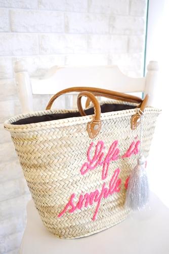 モロッコバスケット、かごバッグ・セレクトショップLisaオリジナルロゴ刺繍&タッセル・ピンク