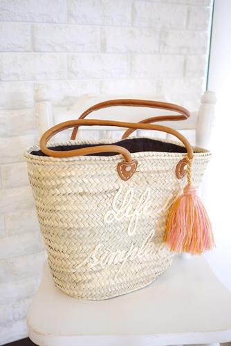 モロッコバスケット、かごバッグ・セレクトショップLisaオリジナルロゴ刺繍&タッセル・オフホワイト