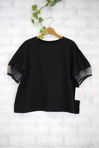 le chanter(ルシャンテ)チュール使いポム袖丸首Tシャツ