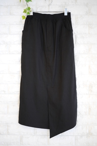 大人の夏ファッションにオススメのPriority(プライオリティ)麻混ストレッチタイトスカート・ブラック