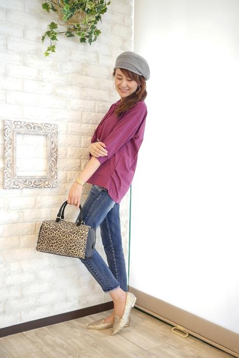 Anna Kerry(アンナケリー)定番人気、フードレスパーカ七分袖Tシャツ・パープルのコーディネート例