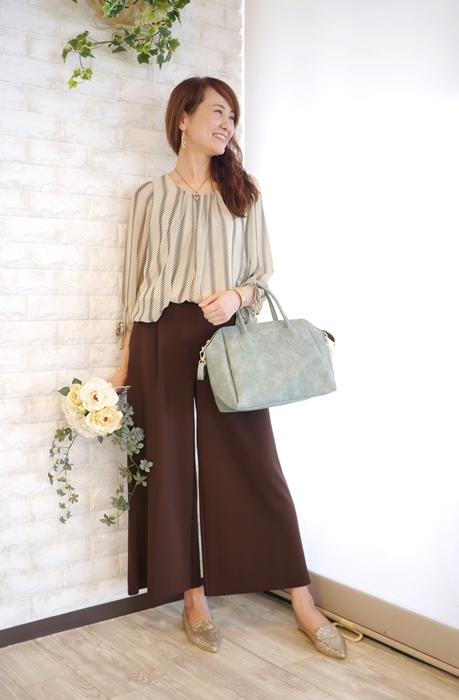 MICELLE(ミセル)by Lastinのロングセラー裾バルーンシフォンブラウスのコーディネート例