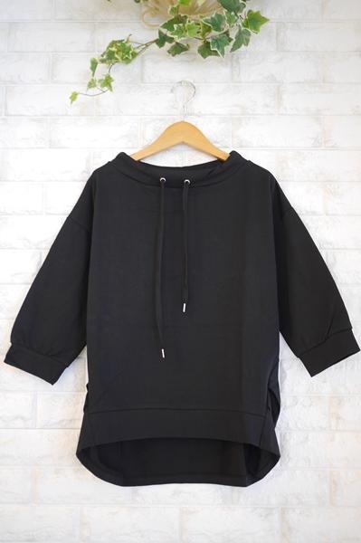 Anna Kerry(アンナケリー)定番人気、フードレスパーカ七分袖Tシャツ・ブラック