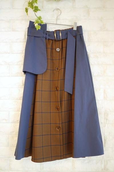 Priority(プライオリティ)byレスピーギのトレンチ風無地xチェック切替Aラインスカート、ネイビー